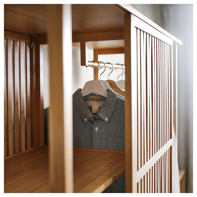 Nordkisa Open Wardrobe With Sliding Door Bamboo Width 47 1 4 Height 73 1 4 Find It Here Ikea Open Wardrobe Sliding Wardrobe Doors Scandinavian Furniture Design