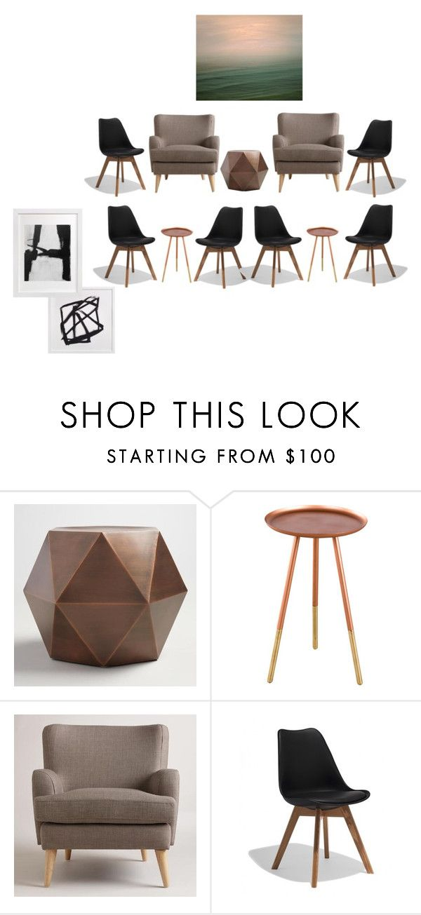 """Waiting Room w/ tables and possible art"" by emoui on Polyvore featuring interior, interiors, interior design, home, home decor, interior decorating, Cost Plus World Market and WALL"