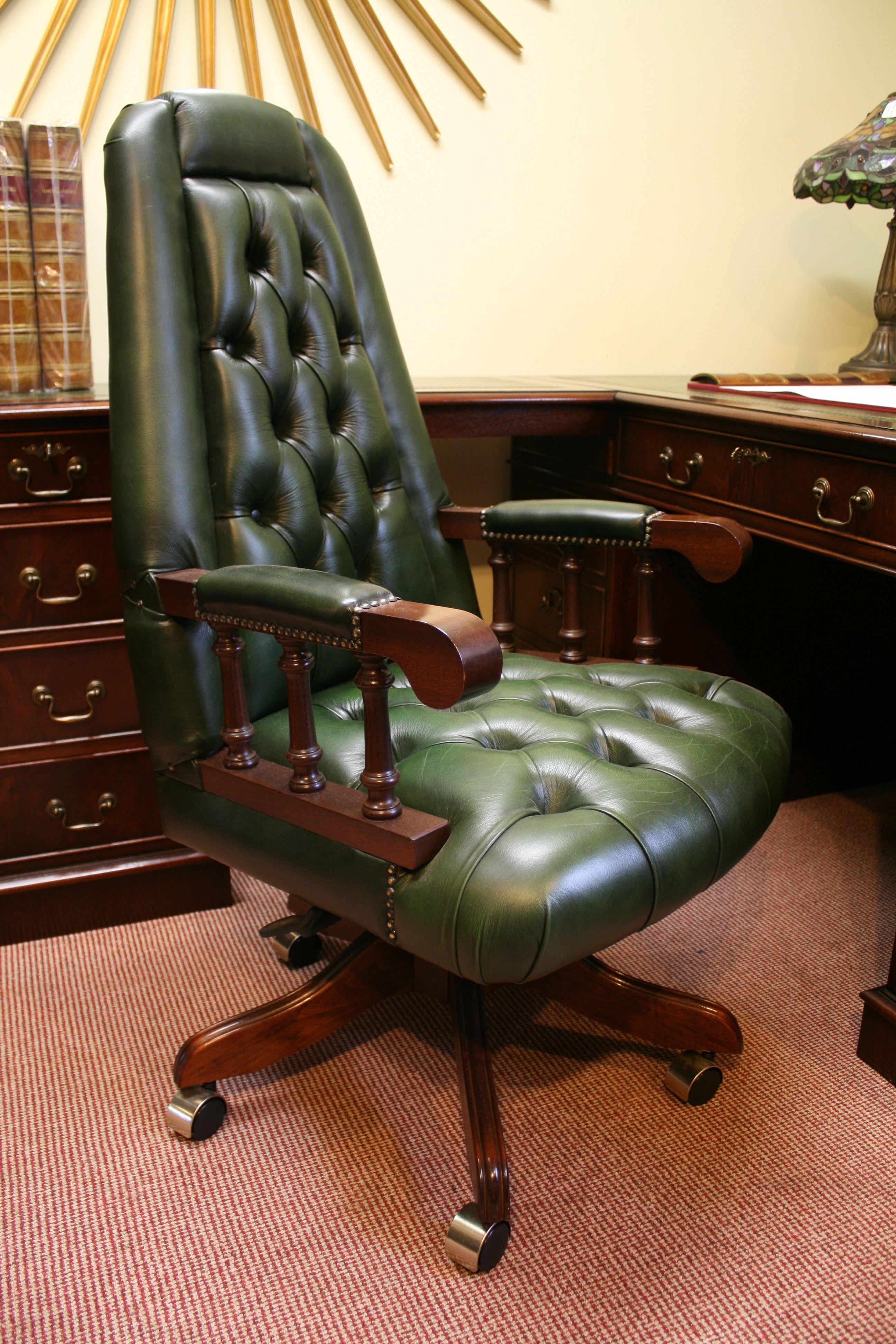 Ascot swivel desk chair bottle green leather upholstery