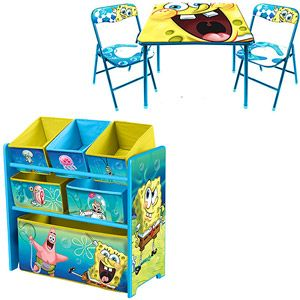 Spongebob Activity Table And Chair Set And Multi Bin Toy