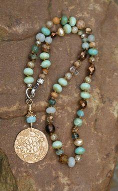 Turtle knotted necklace - beach boho chic, nautical jewelry, symbol of longevity…