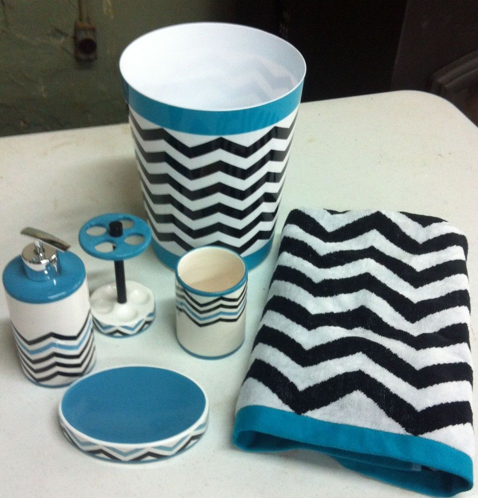 Chevron 6 Pc Turquoise Black White Bathroom Set Bath Towel Trash Soap Cup New