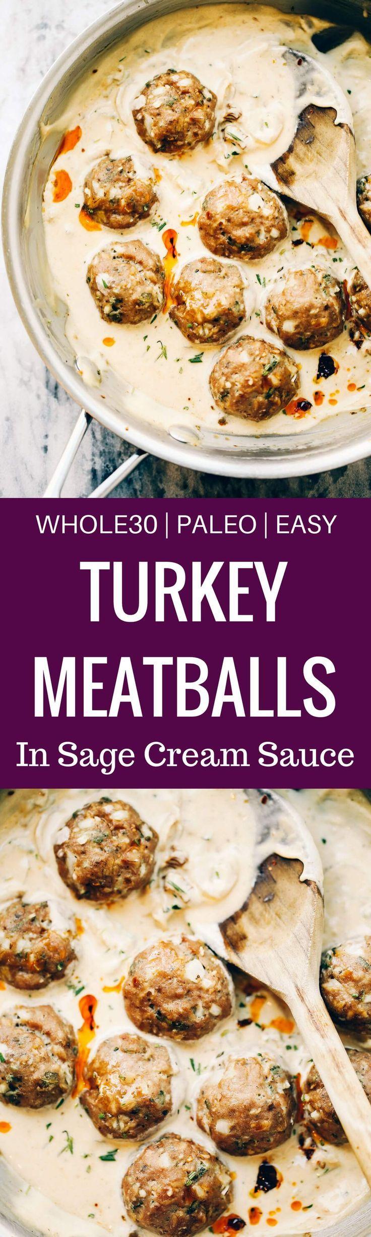 turkey sausage meatballs in sage cream sauce paleo gluten free eats recipe easy whole 30 recipes whole 30 breakfast whole30 breakfast recipes turkey sausage meatballs in sage cream sauce
