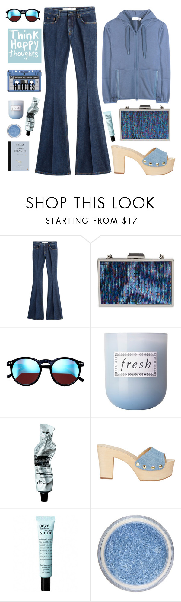 """""""The Flares and The Hoodies"""" by karineminzonwilson ❤ liked on Polyvore featuring dVb Victoria Beckham, Jessica McClintock, Wildfox, Fresh, Aesop, Giuseppe Zanotti, philosophy, adidas, women's clothing and women's fashion"""