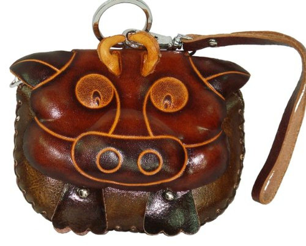 Handmade Leather Wristlet Purse, Dark Brown Bull Face Cover, Zipper Closure, Unique Designs.