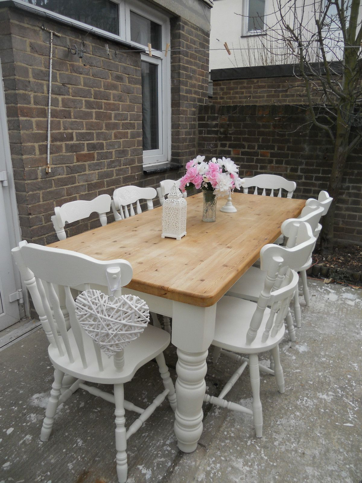 Beautiful shabby chic pine table and 8 chairs Farrow   ball   eBayFrench Blue Shabby Chic Dining Table And Chairs Toile Fabric in  . Shabby Chic Dining Room Table Ebay. Home Design Ideas