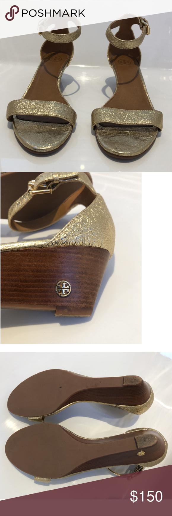 f933b9356 Tory Burch Saharian Gold Savannah Sandal Wedges Gleaming metallic leather
