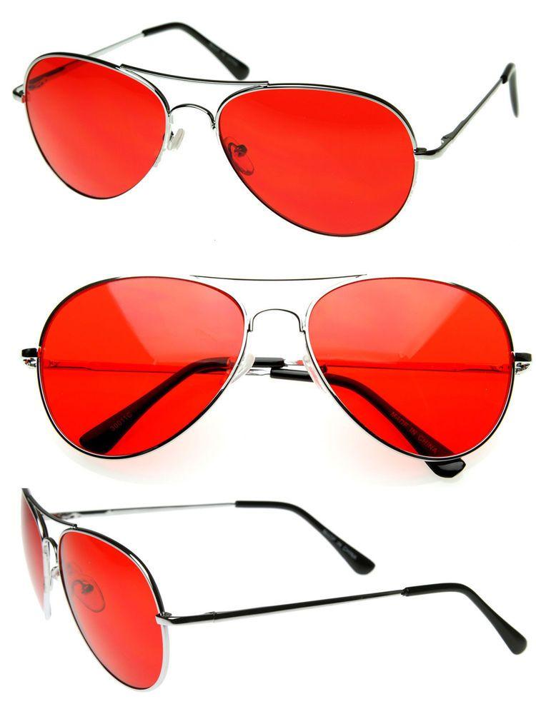 7565a6e7a1 Mens Retro Classic Metal Aviator Lens Aviator Sunglasses...to see you in  red.