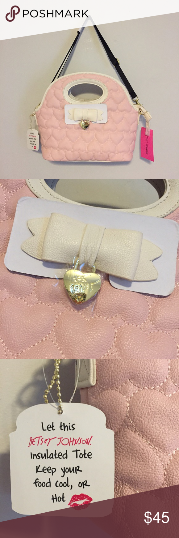 Betsey Johnson Lunch Bag New With Tags! Super cute lunch tote to carry around all your goodies! Features an adjustable strap which is also removable! Betsey Johnson Bags Crossbody Bags