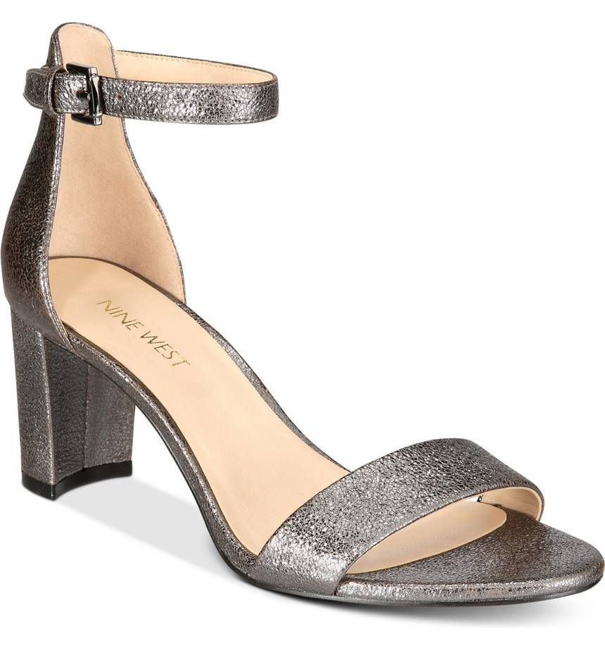 Nine West Pruce Block Heel Sandals SIZE 10M PEWTER in 2019