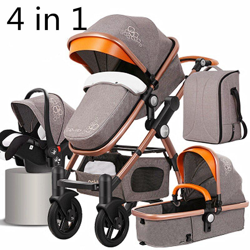 Baby Stroller 4 in 1 with Car Seat For Newborn High View
