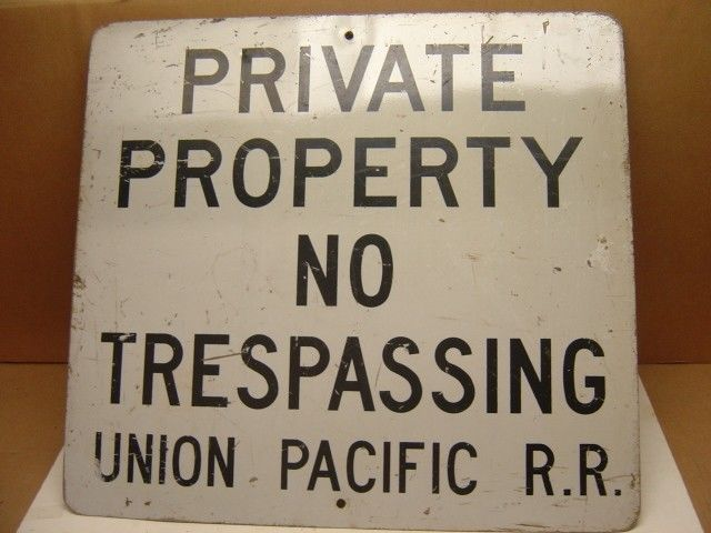 Old Retired UNION PACIFIC RAILROAD RR Metal Sign Private