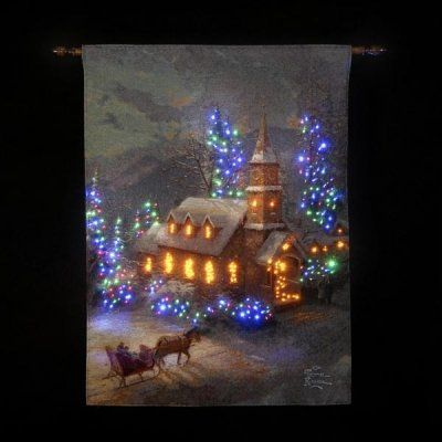 sunday church lit wall tapestry dual powered uk christm https