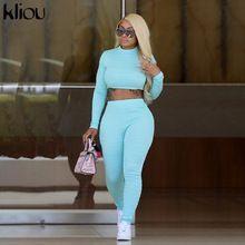 Kliou women fitness 2 pieces set solid color plaid tracksuit long sleeve turtlen...#color #fitness #...