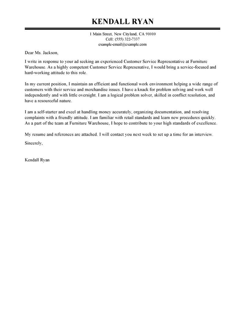 customer service cover letter sample - Customer Service Cover Letter Examples