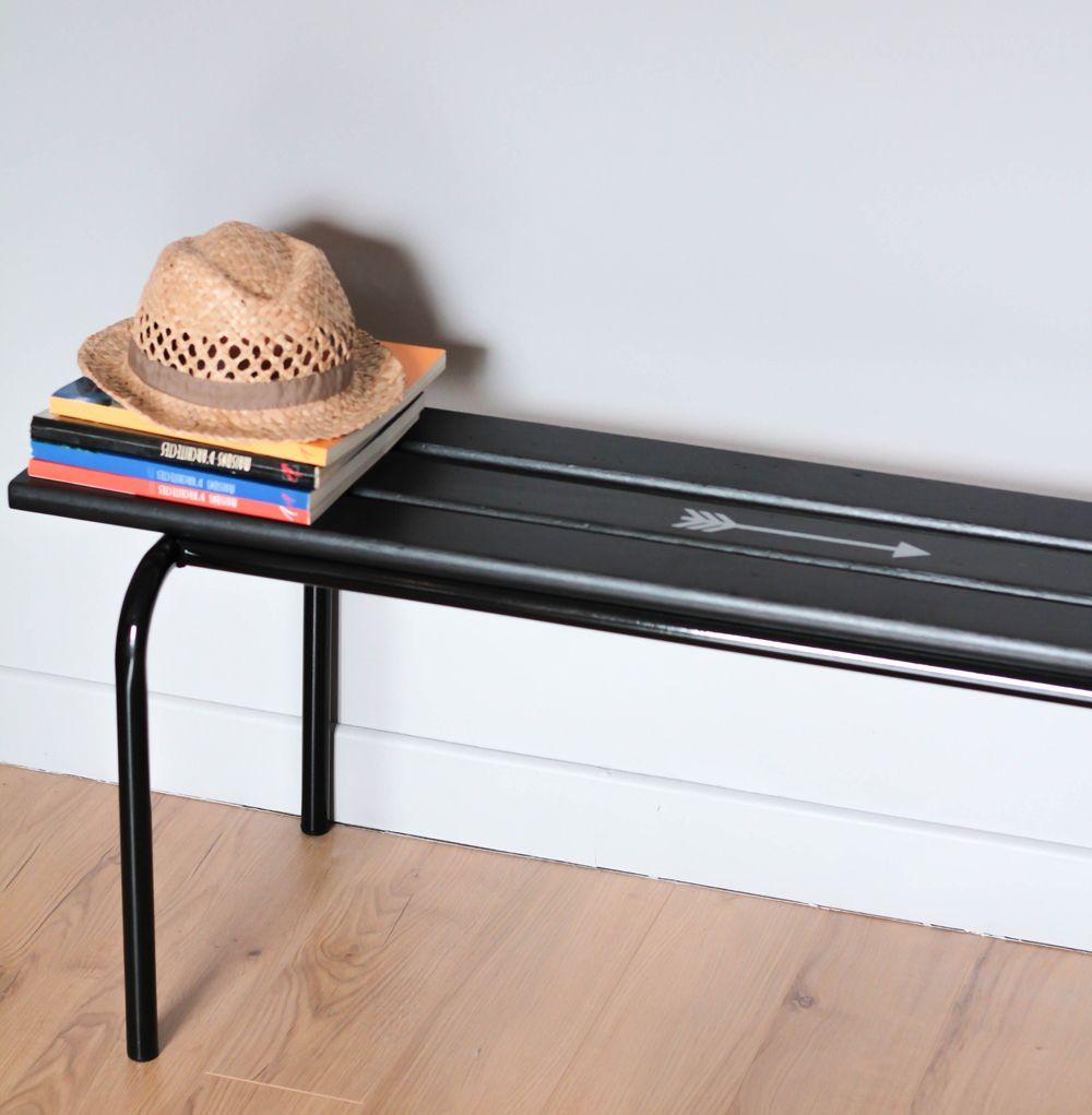 petit banc d 39 cole maternelle vintage enti rement remis en. Black Bedroom Furniture Sets. Home Design Ideas