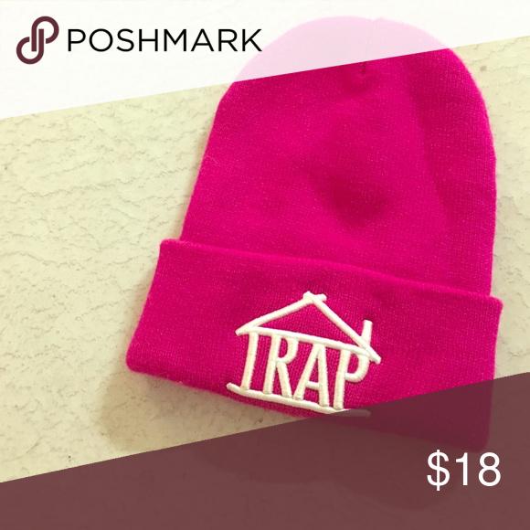 Hot Pink Trap Logo Beanie Hot Pink Pink Beanie