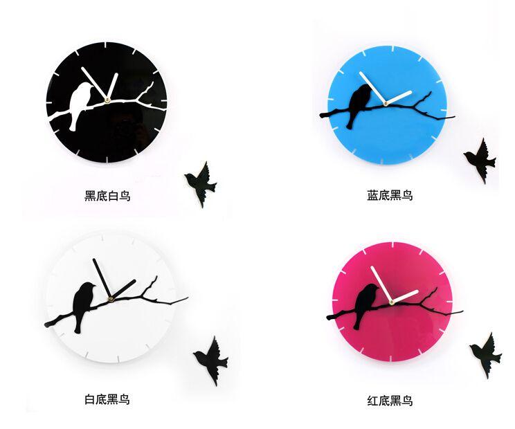 Pas cher Design moderne 3D oiseaux acrylique horloge murale noir