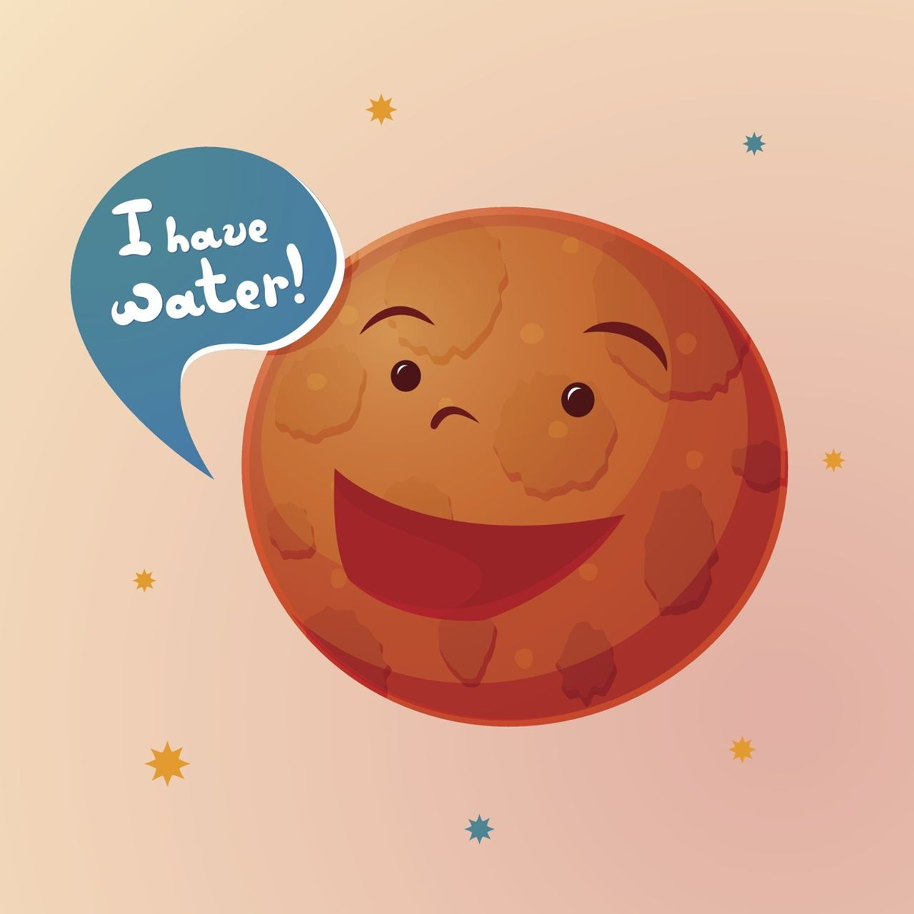 Planet Mars With Cartoon Face Vector Illustration Planets Cartoon Faces Terrestrial