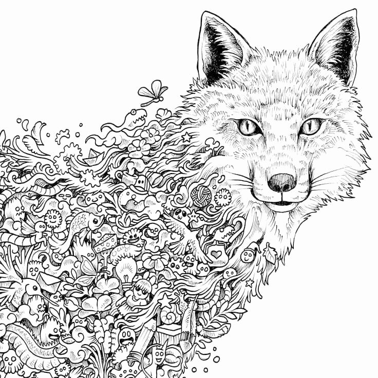 Hard Coloring Pages Of Animals Unique Coloring Pages For Adults Difficult Animals 12 In 2020 Animorphia Coloring Fox Coloring Page Animorphia Coloring Book