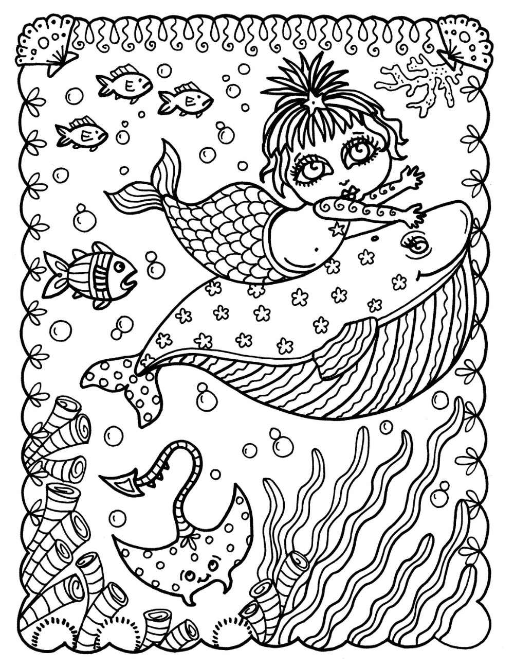 Baby Mermaids Digital Coloring Book For All Mermaid Lovers Etsy Coloring Books Love Coloring Pages Fairy Coloring Pages