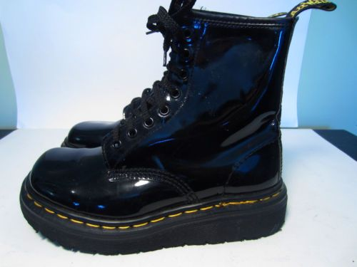2bfd0760c9b1 RARE Dr Doc Marten   9218 Shiny Black Leather Boots UK Size 4 US 6 ...