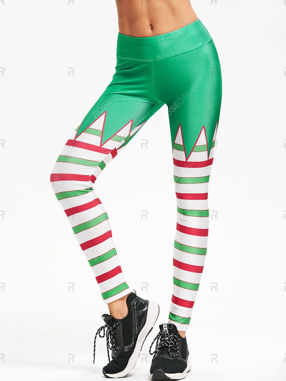 Striped Christmas Skinny Leggings #stripedleggings