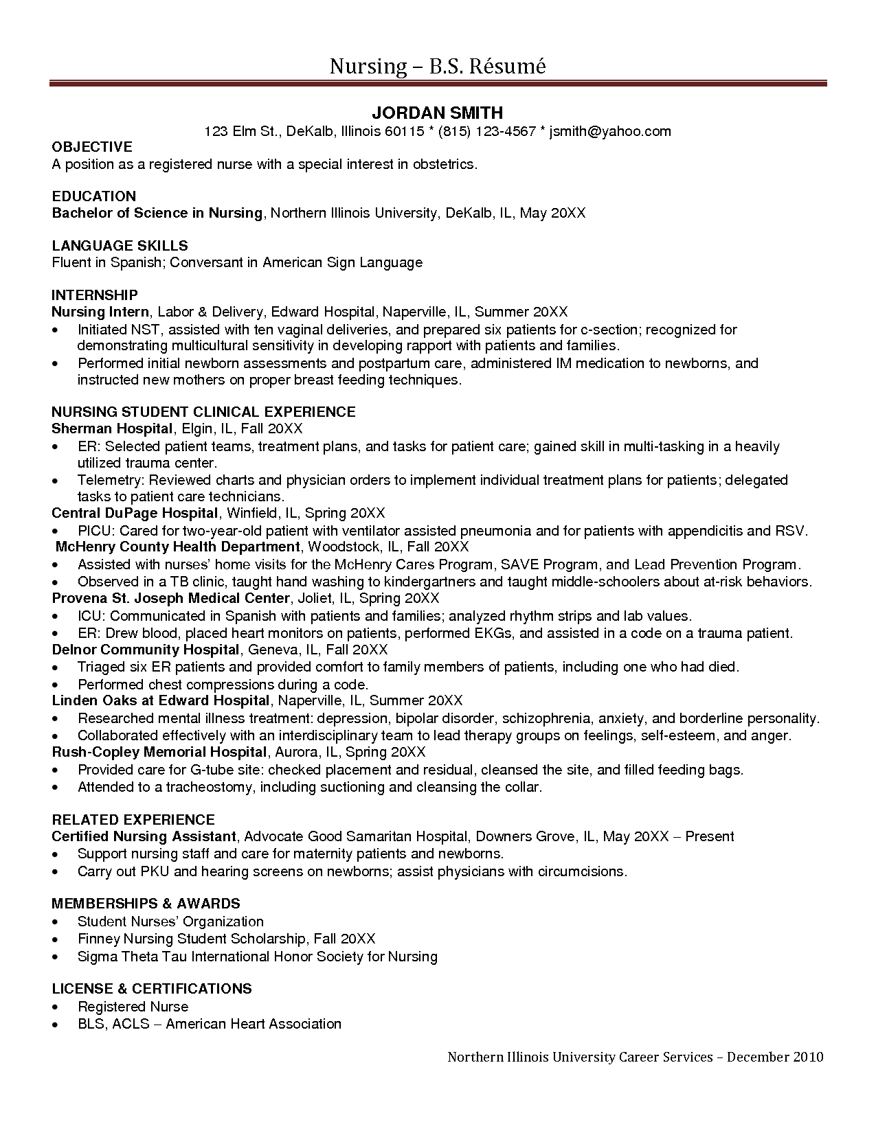 Nurse Internship Resume Nursing Cover Letter Certified Assistant