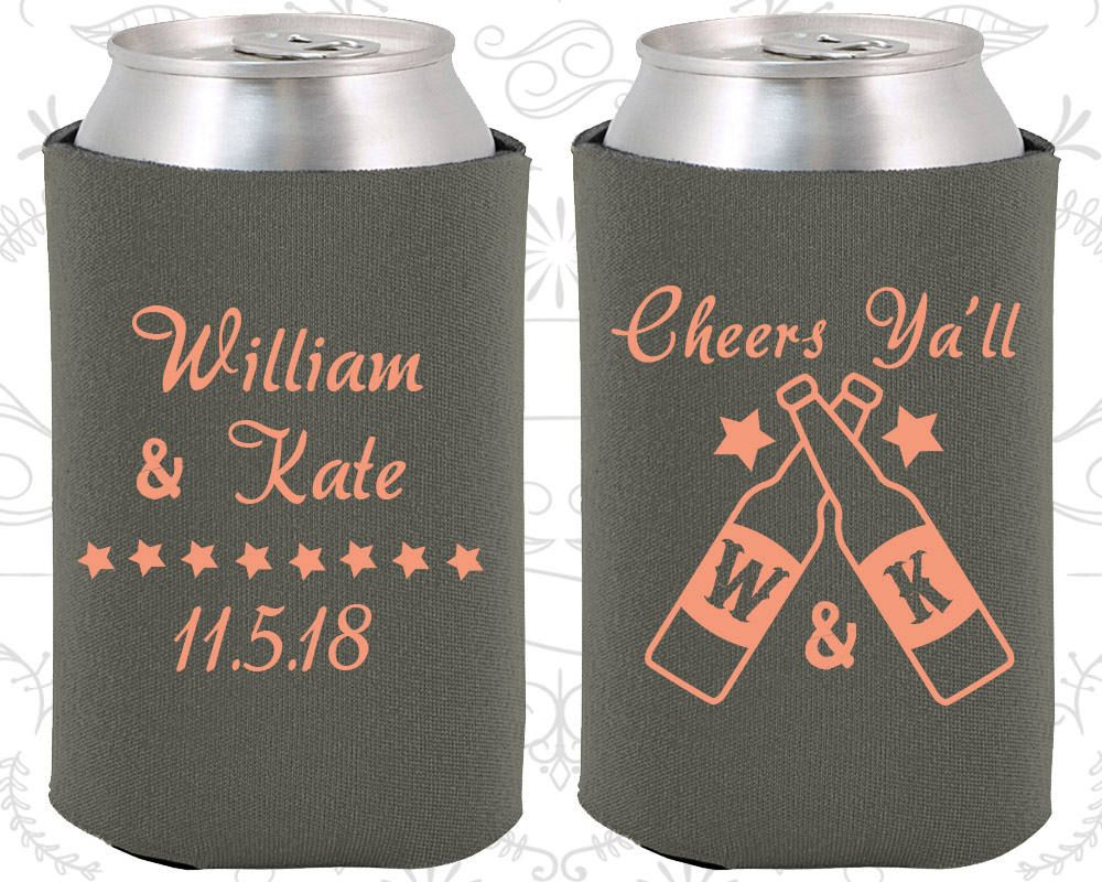 Details about  /Cheers Wedding Favors Wedding Items Can Cooler Monogrammed Gift 269