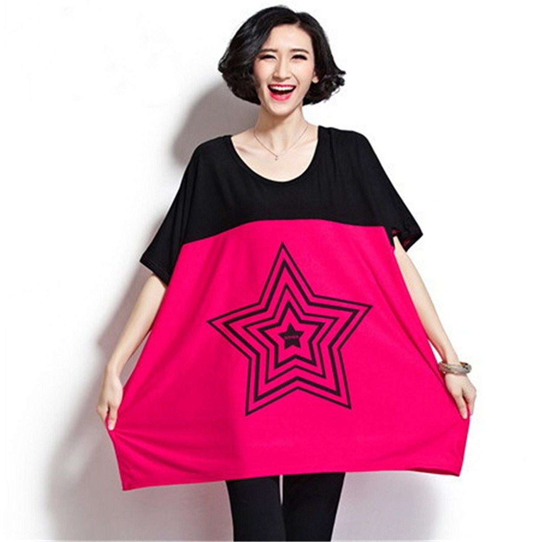 yjwan summer plus size top contrast color loose soft cotton female