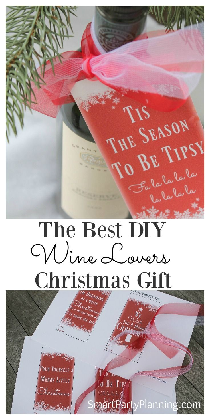 Easy Diy Christmas Wine Bottle Tags There Are Four Designs To Choose From Which Attach To The Diy Christmas Gifts Wine Christmas Wine Bottles Christmas Wine