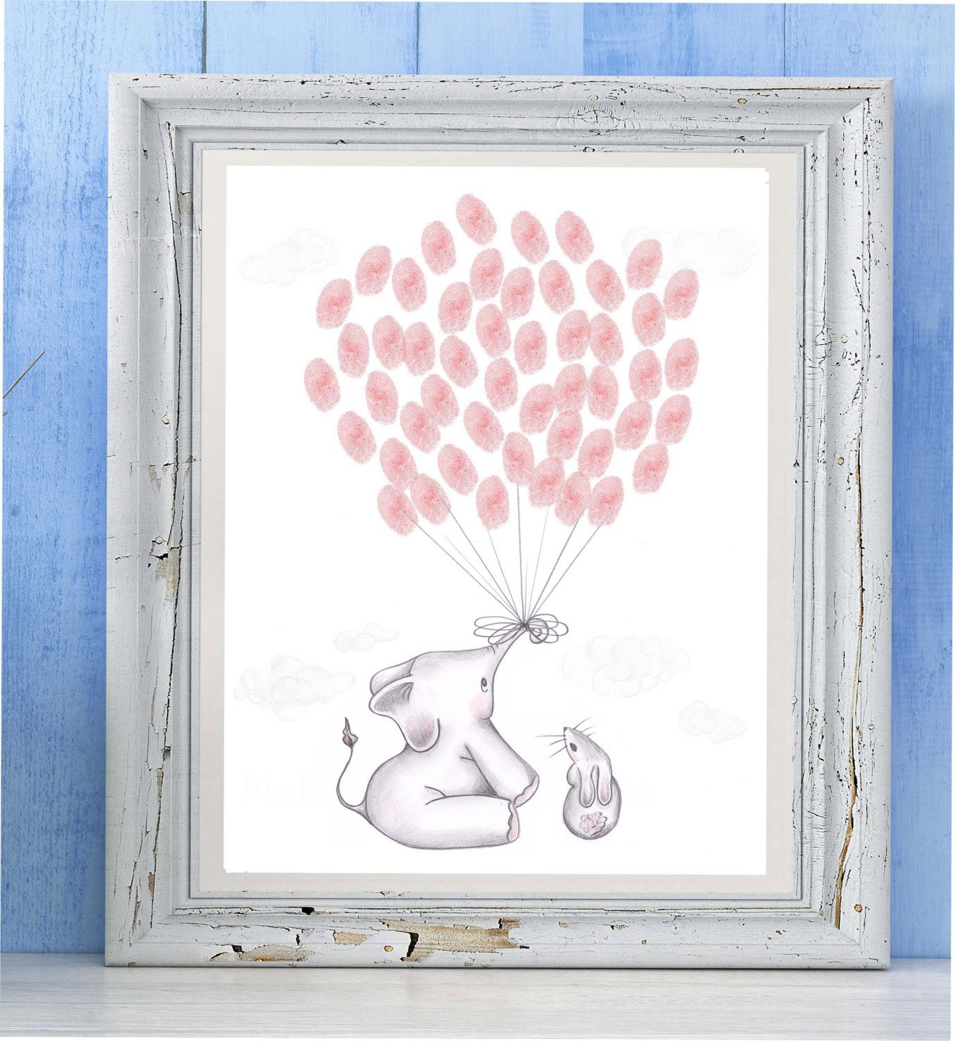 Elephant Baby Shower Guest Book For Thumbprints   Elephant Baby Shower  Guestbook Alternative   Fine Art