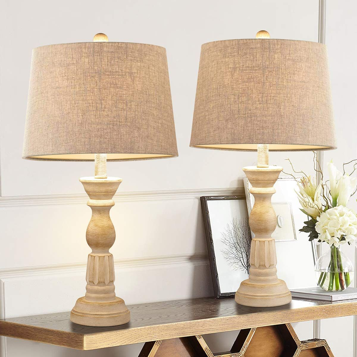Oneach Table Lamps Set of 2 for Living Room Bedside Desk