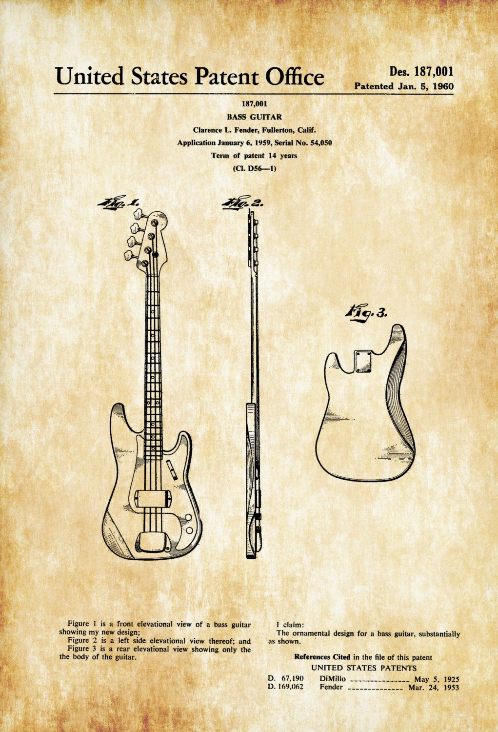 Fender Bass Guitar Patent - Patent Print, Wall Decor, Music Poster ...