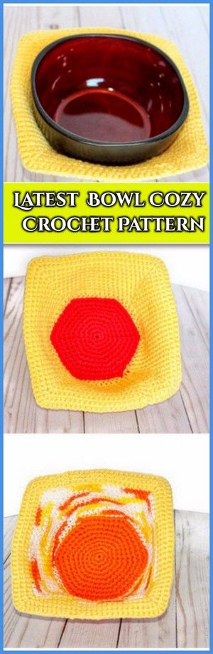 40 Modern Crochet Bowl Cozy Hot Pad Covers Free Patterns  #crochetbowl