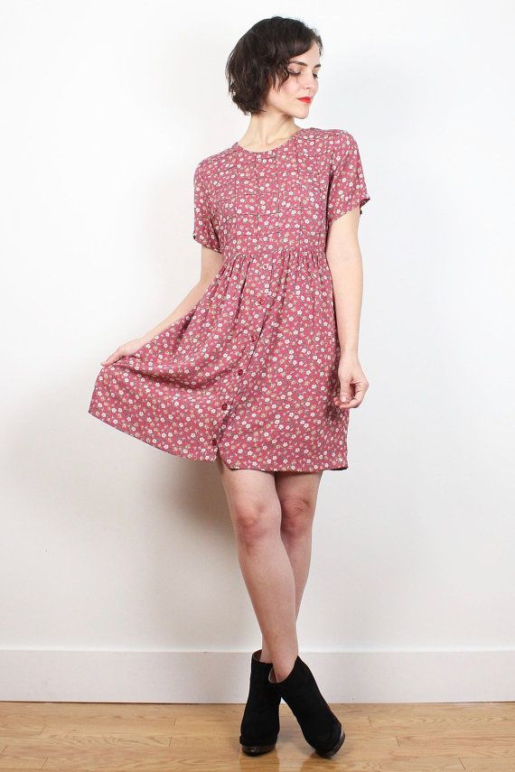 409a898b Vintage Dusty Pink Floral Print Dress 90s Dress Babydoll Dress ...