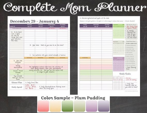 2015 Complete Mom Planner in Plum Pudding Color by TheSplendidPig