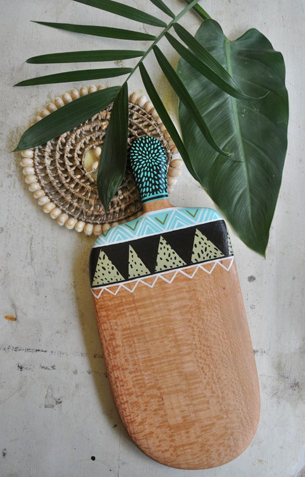 One-off hand shaped and painted serving board by Australian artist/maker; Millie Fairhall // Available online