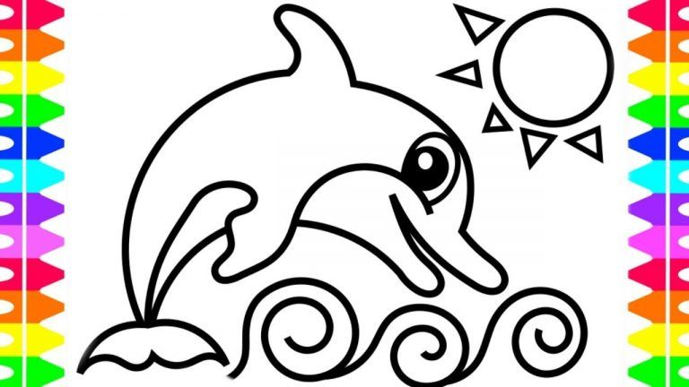 Fun Coloring Pages For Kids- Cartoon Dolphin Jumping Out ...