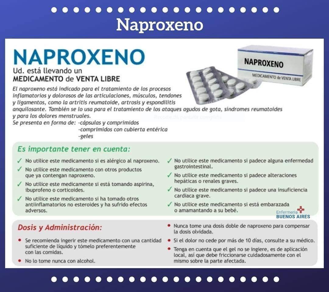 Naproxeno Enfermeria Farmacos Administracion Spanish