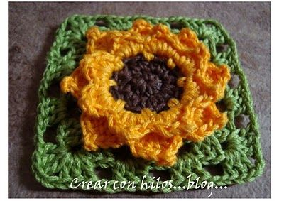 It's been years since I've crocheted, but I might try to make something for little Maggie.  Sunflower granny square tutorial
