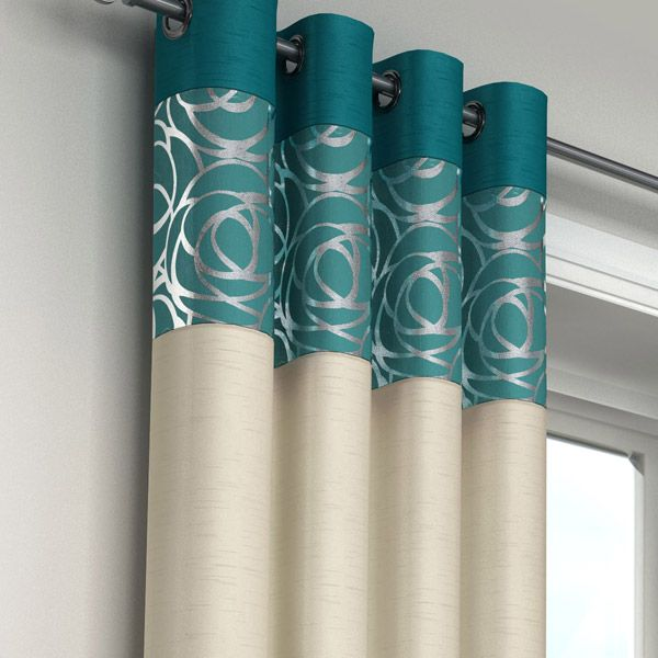 Teal Silver Curtains - Rooms