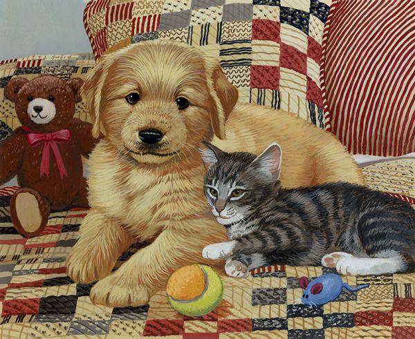 Soul Mates By William Vanderdasson Cats Illustration Cat Art