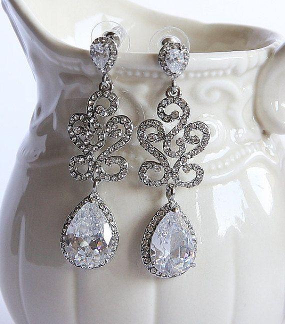 537faff0860b Pendientes novia cristal, pendientes de araña novia, pendientes ...