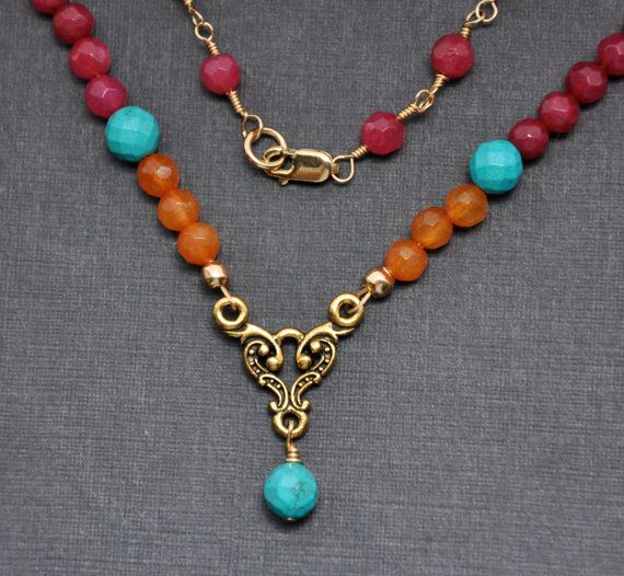 Multi Stone Necklace Red Ruby Orange Quartz by GueGueCreations, $68.00