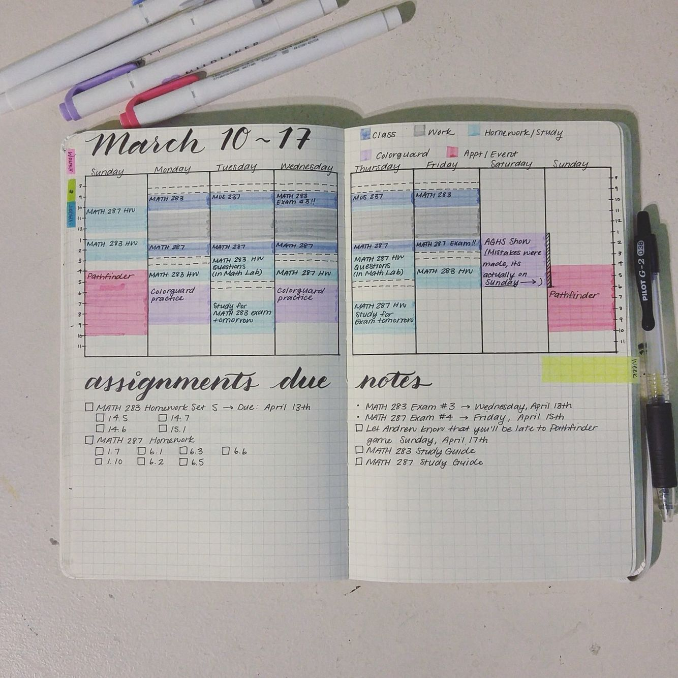 Lovely Student Weekly Bullet Journal Spread #bujo courtesy ...