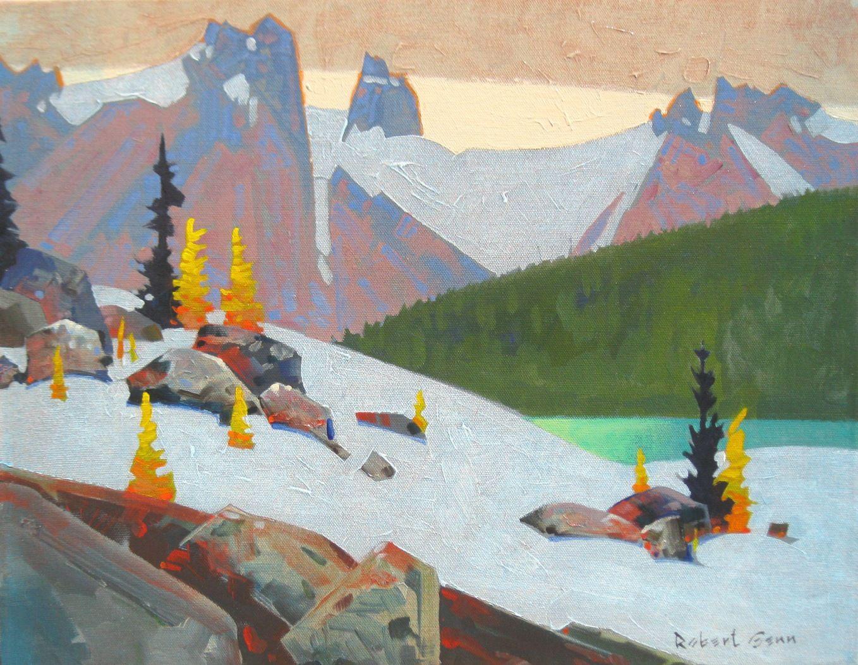 "'Chinook Over the Bugaboos' 14"" x 18"" Acrylic on Canvas by Robert Genn | Hambleton Galleries 1290 Ellis Street, Kelowna, BC 250-860-2498"