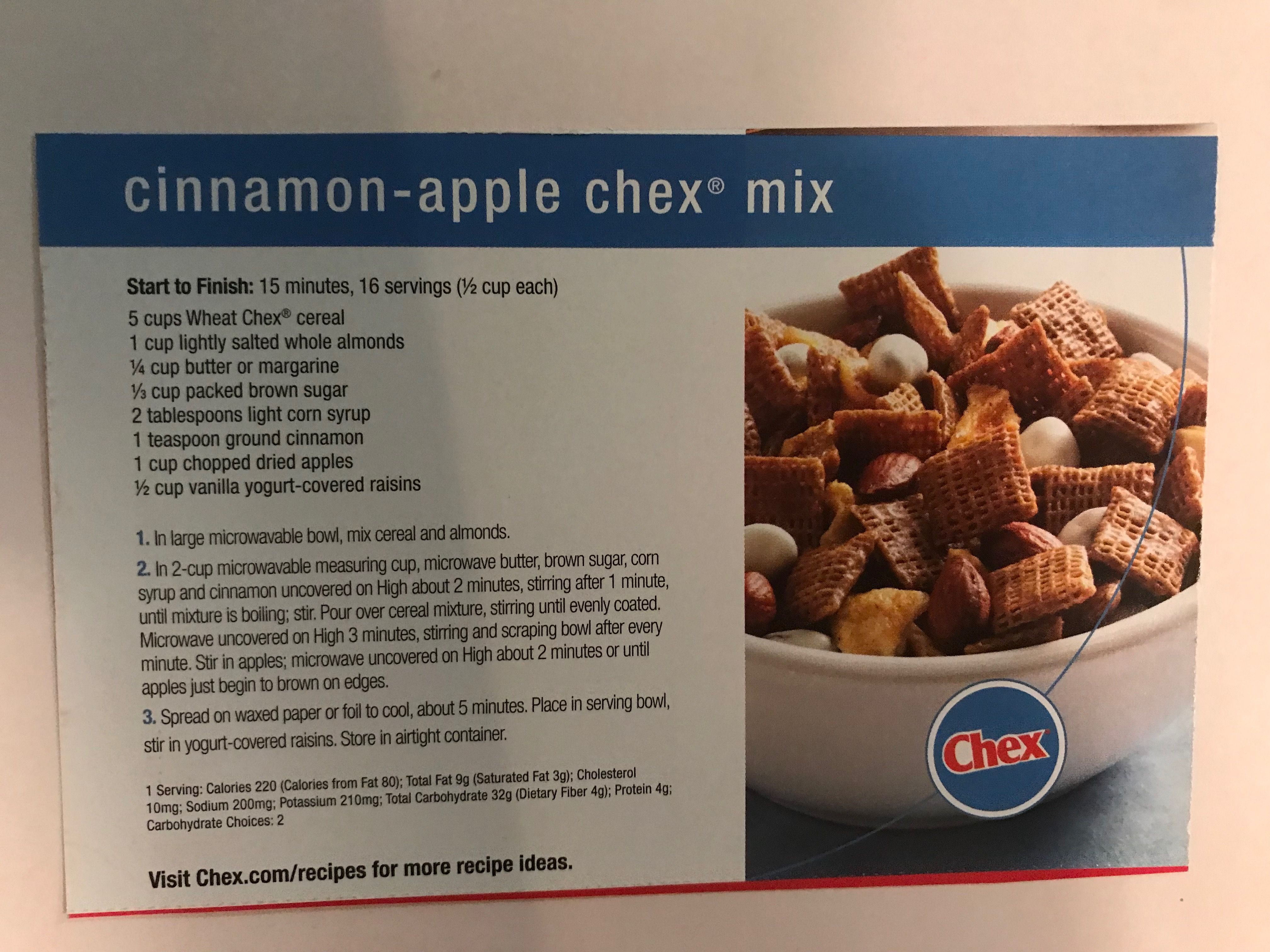 Cinnamonapple Chex mix Chex mix, Dried apples, Cinnamon