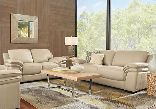 Sabella Taupe Leather 3 Pc Living Room With Reclining Sofa