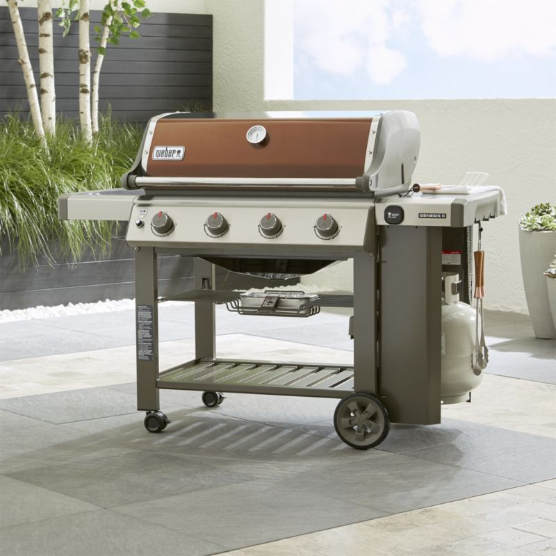 Weber Genesis Ii E 410 Copper Gas Grill Crate And Barrel Gas Grill Gas Barbecue Grill Outdoor Kitchen Design